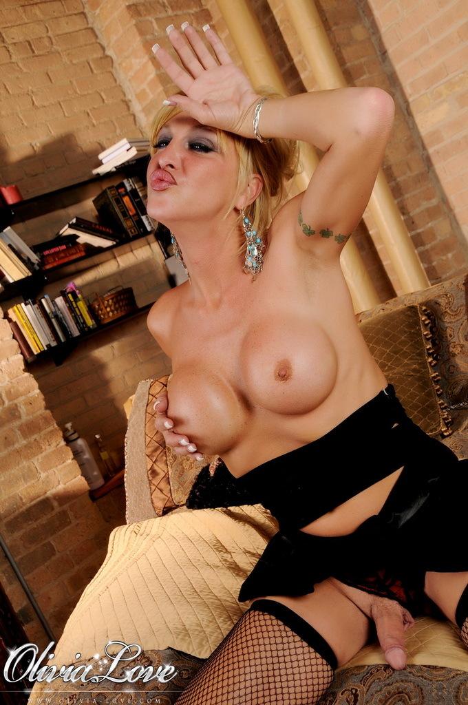 Attractive TS Olivia Love Posing In Sensuous Panties