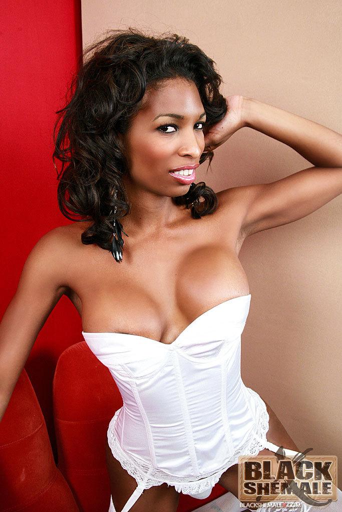 Black TS Natassia Dream In Suggestive White Panties