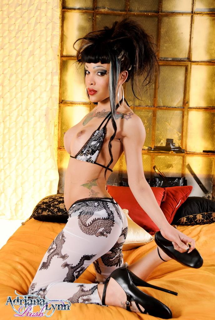 Ebony Ts Adriana Stripping On The Bed