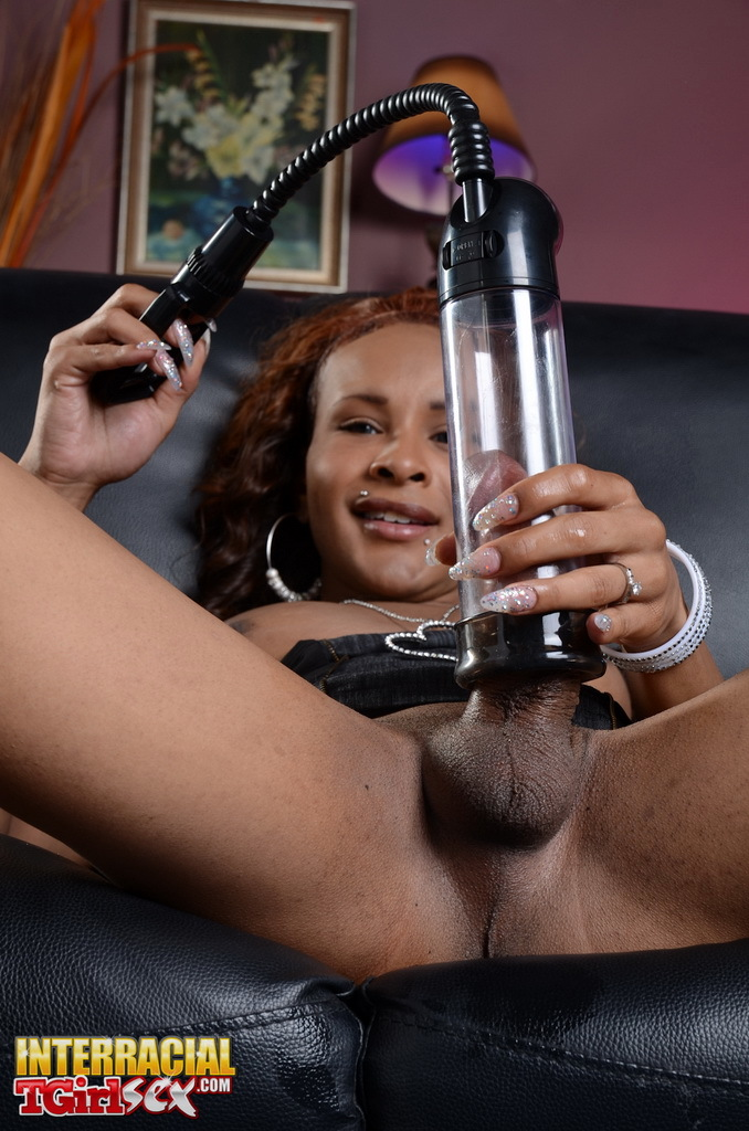 Filthy Ebony TS Chyna Playing With A Cock Fill