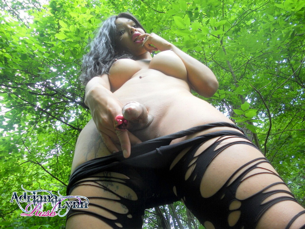 Flirtatious Adriana Strips In Forest