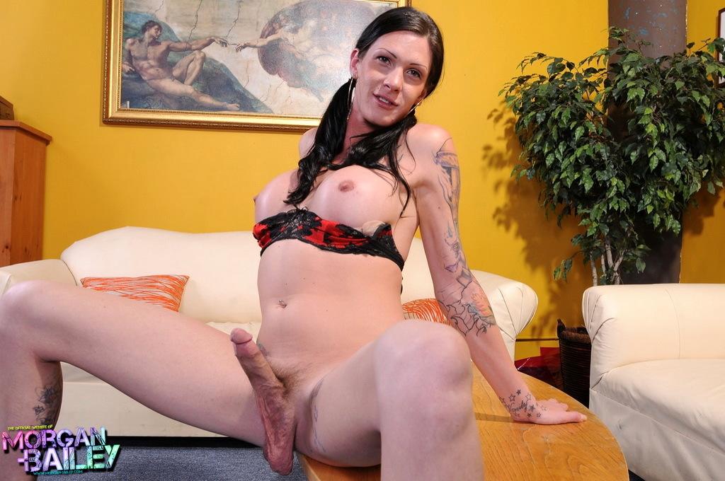 Flirtatious Morgan Posing Her Long Rough Shecock