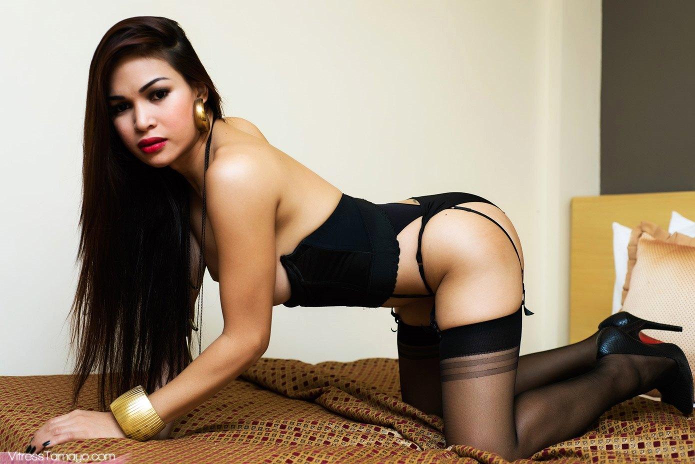 Glamorous TS Vitress Tamayo Taking Off Her Panties And Stockings