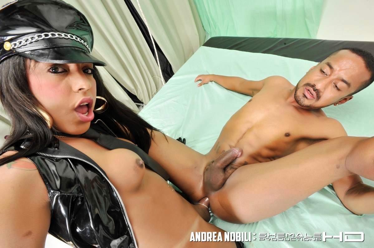 Hungry T-Girl Cop Aylla Bangs Man
