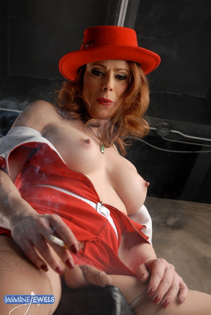 Jasmine Smoking Posing In A Yummy Vintage Skirt
