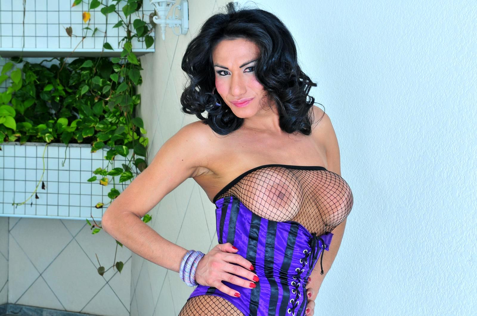 Massive Tit TGirl Lorena Smith Bang's Wet Latina Pussy