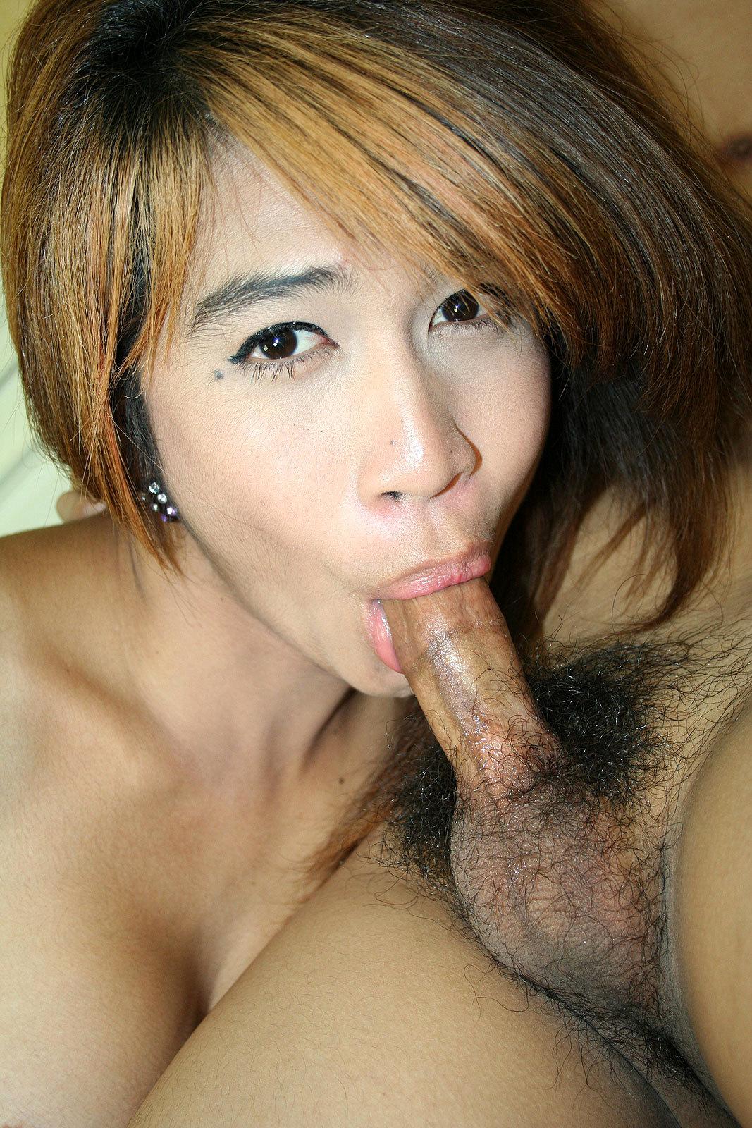 Naughty Asian Ts White Sucks Dick And Gets Ruined