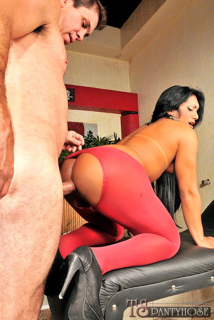 Pantyhose Clad Brazilian TGirl Sex