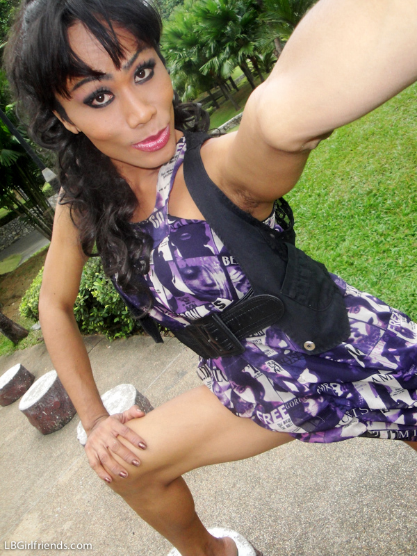 Red TGirl Lingerie And Toy Nailing In Outdoor Public Upsk