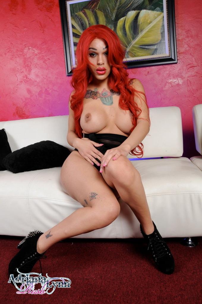 Redhead Adriana Wanks Her Massive Cock