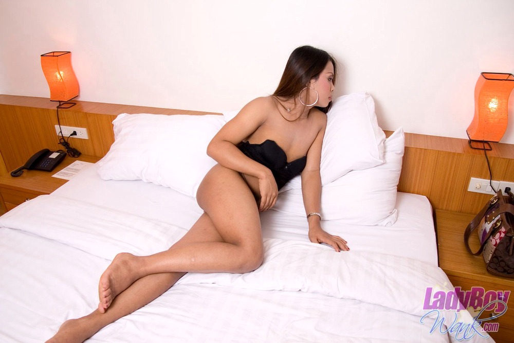 Shy And Perfect Tgirl Ooy Shares Her Erect Titillating Dick