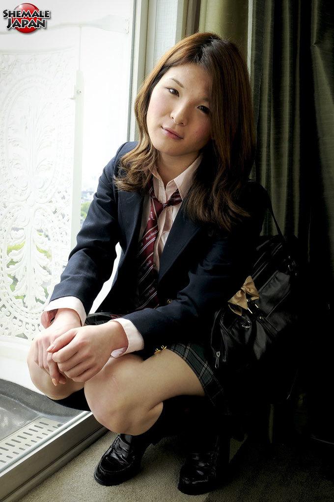 Shy Newhalf Kaoru Shirashi Is Dressed As A Slutty School Girl