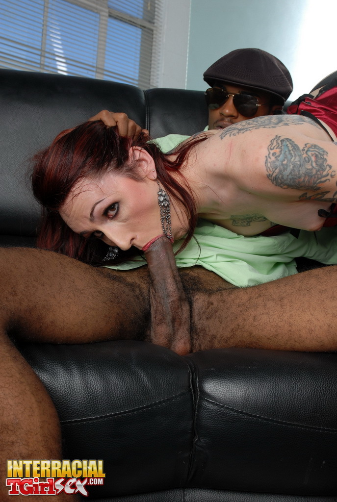 Spicy TGirl Brittany Blowing On A Enormous Black Cock