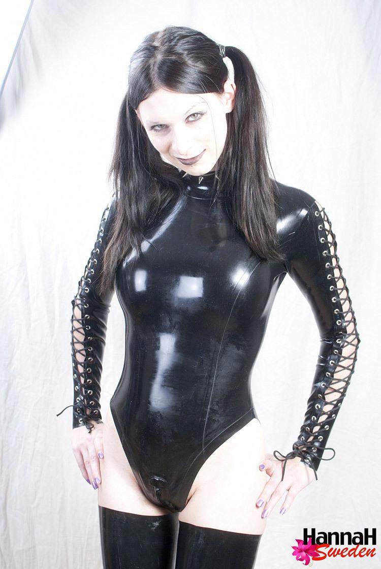 Submissive Tgirl In Arousing Black Latex Suit