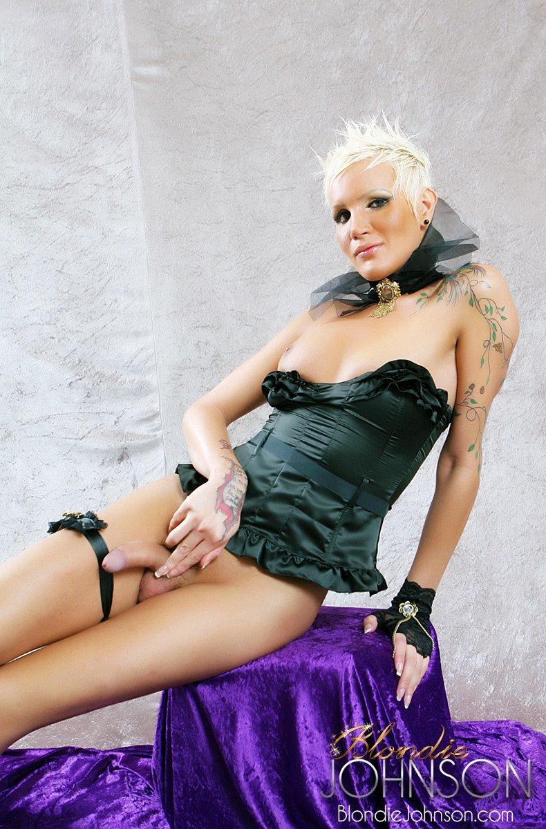 The Long Cocked TS Blondie Johnson In Black Panties